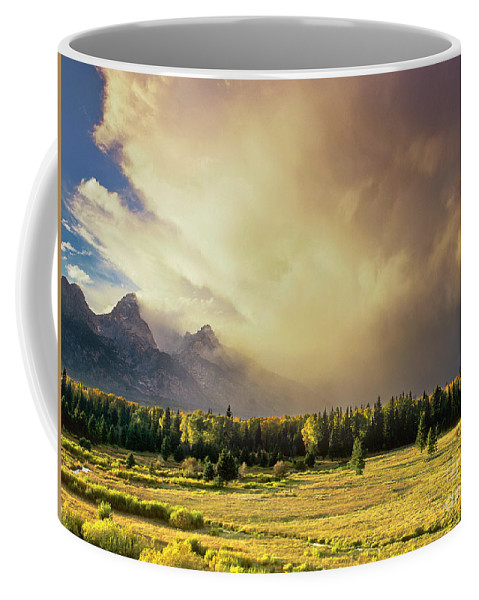 North America Coffee Mug featuring the photograph Clearing Summer Storm Grand Tetons National Park by Dave Welling