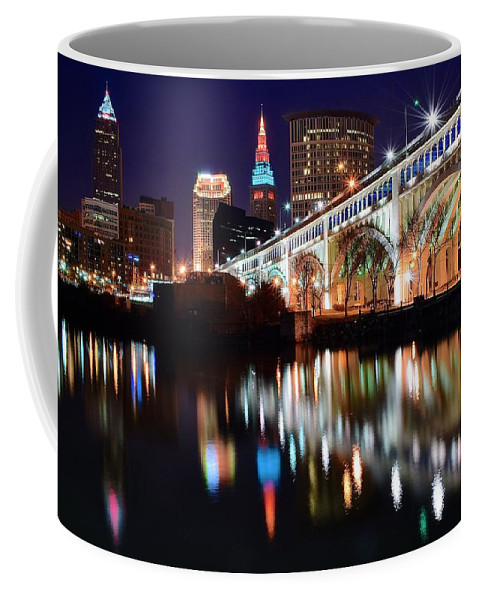 Cleveland Coffee Mug featuring the photograph Cleveland Ohio Skyline by Frozen in Time Fine Art Photography
