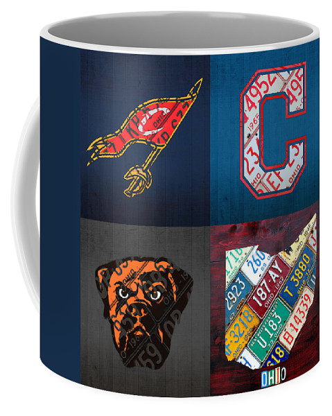 Cleveland Coffee Mug featuring the mixed media Cleveland Sports Fan Recycled Vintage Ohio License Plate Art Cavaliers Indians Browns And State Map by Design Turnpike