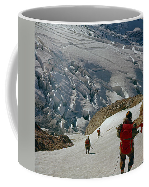 Climbing Party Coffee Mug featuring the photograph T-204805-climbing Party Mt. Rainier by Ed Cooper Photography