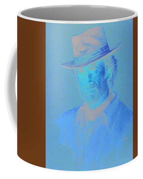 Clint Eastwood Portrait Coffee Mug featuring the pastel Clint Eastwood by Charles Vernon Moran