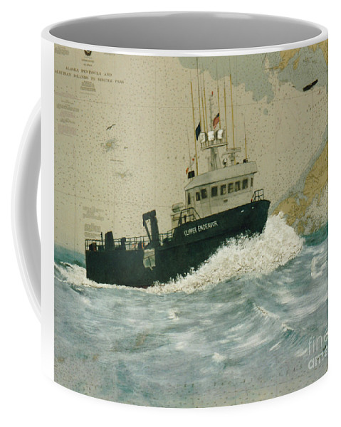 Cathy Coffee Mug featuring the painting Clipper Endeavor Alaska Boat Nautical Chart Map by Cathy Peek