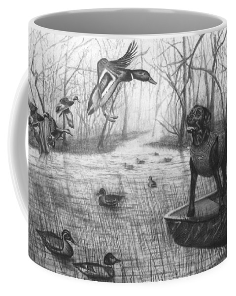 Cloaked Coffee Mug featuring the drawing Cloaked by Peter Piatt