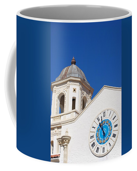 Clock Coffee Mug featuring the photograph Clock And Tower by Rob Hans