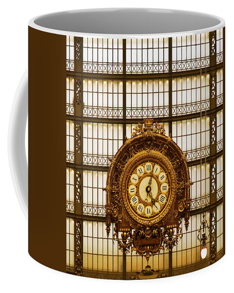 Paris Coffee Mug featuring the photograph Clock Dorsay Museum by Mick Burkey