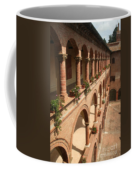 Courtyard Coffee Mug featuring the photograph Cloistered Courtyard by Christiane Schulze Art And Photography
