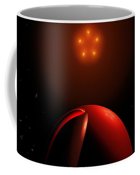 Abstract Coffee Mug featuring the digital art Close Encounters II by David Lane