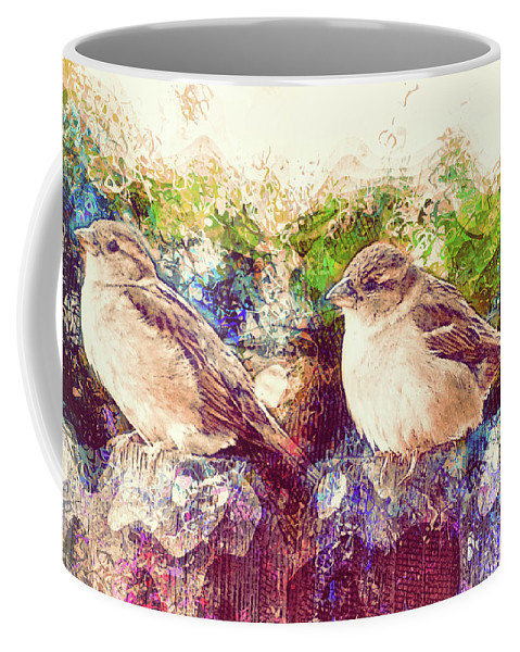 Two Birds Coffee Mug featuring the photograph Close Encounters Of The Bird Kind by Davy Cheng