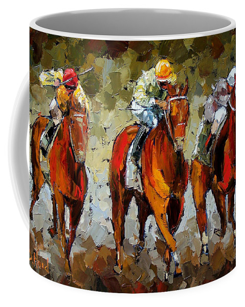 Horses Coffee Mug featuring the painting Close Race by Debra Hurd