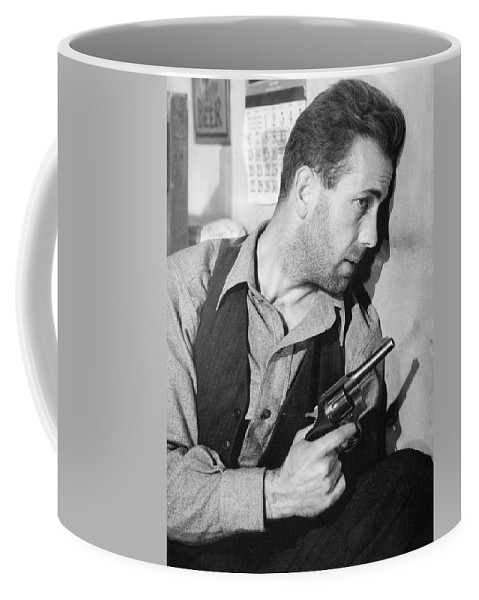 Close-up Up Humphrey Bogart As Duke Mantee With Gun The Petrified Forest 1936 Coffee Mug featuring the photograph Close-up Up Of Humphrey Bogart As Duke Mantee With Gun The Petrified Forest 1936 by David Lee Guss