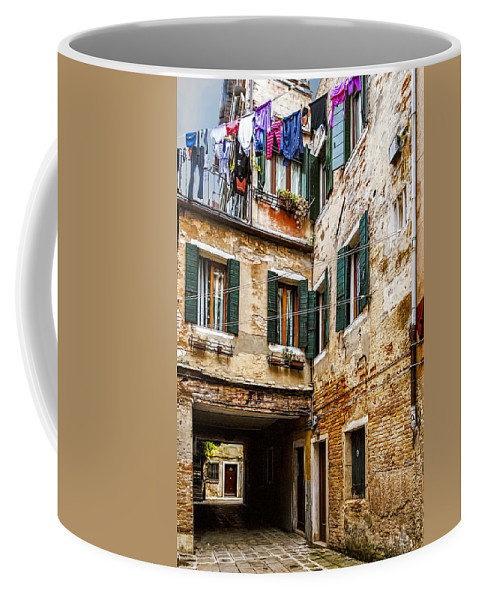 Alley Coffee Mug featuring the photograph Clothes On A Line by Maria Coulson