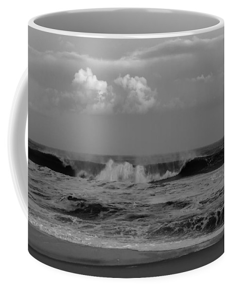 Terry D Photography Coffee Mug featuring the photograph Cloud And Wave Black And White Seaside New Jersey by Terry DeLuco
