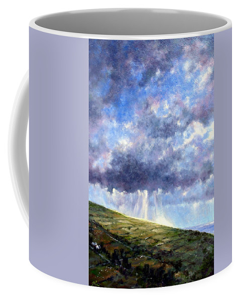 Oil Painting Coffee Mug featuring the painting Cloud Burst Ireland by Jim Gola