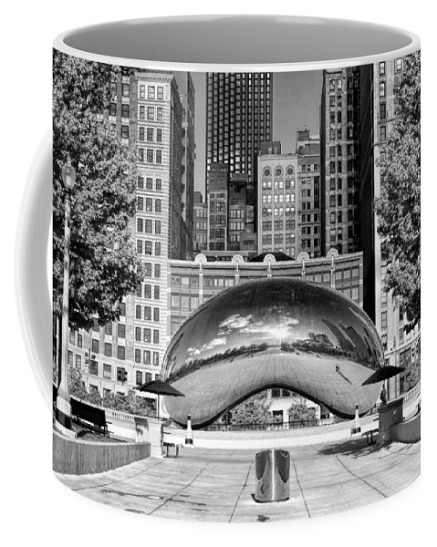Chicago Coffee Mug featuring the photograph Cloud Gate Park Black And White by Christopher Arndt