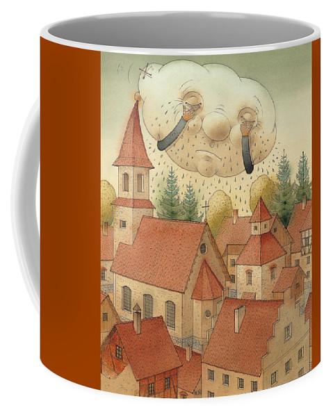 Cloud Town City Rain Roof Coffee Mug featuring the painting Cloud by Kestutis Kasparavicius