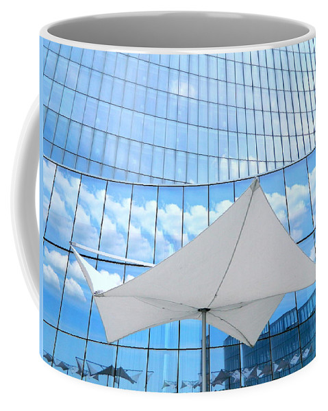Umbrella Coffee Mug featuring the photograph Cloud Reflections - Revel Hotel by Arlane Crump