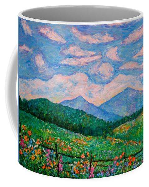 Kendall Kessler Coffee Mug featuring the painting Cloud Swirl Over The Peaks Of Otter by Kendall Kessler