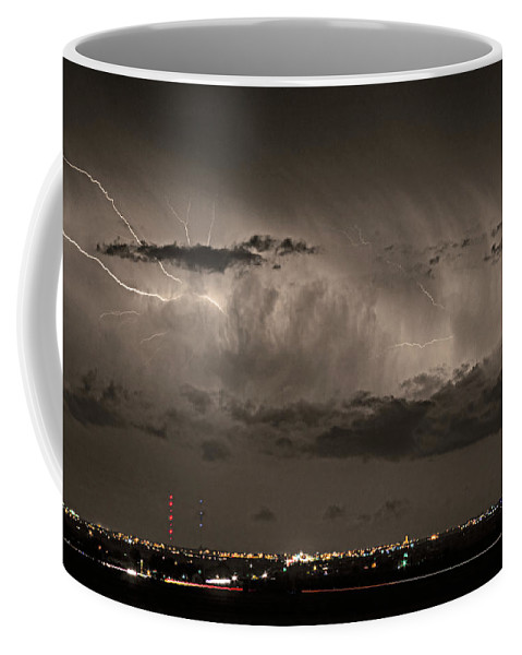 Bouldercounty Coffee Mug featuring the photograph Cloud To Cloud Lightning Boulder County Colorado Sepia Color Mix by James BO Insogna