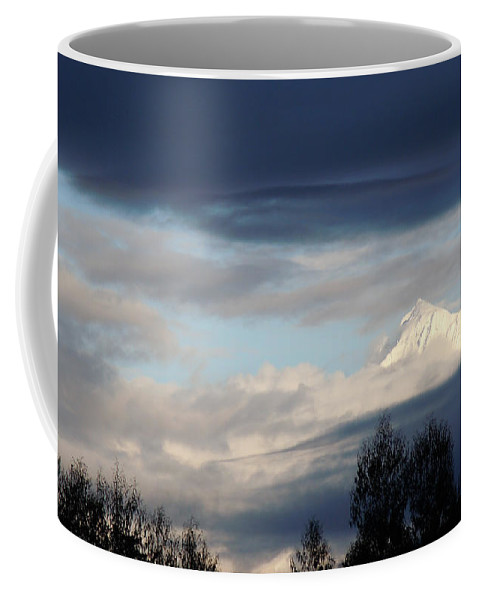 Andes Coffee Mug featuring the photograph Cloud Veils Cloaking Sarcantay Cuzco Peru by Anastasia Savage Ealy