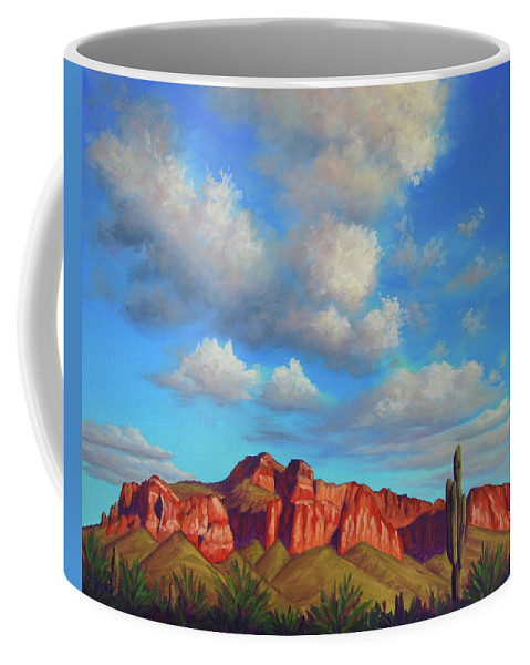 Landscape Coffee Mug featuring the painting Clouds Over Superstitions by Cheryl Fecht
