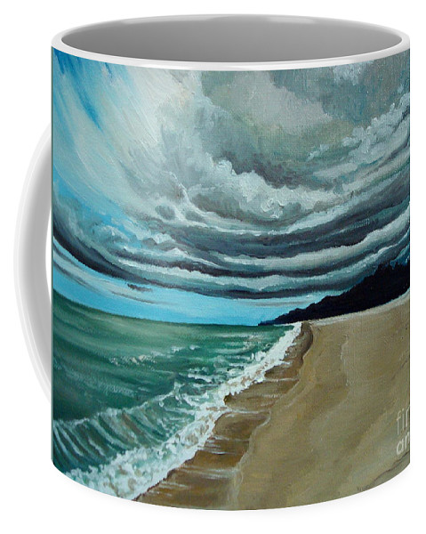 Landscape.beach Coffee Mug featuring the painting Clouds Rolling In by Elizabeth Robinette Tyndall