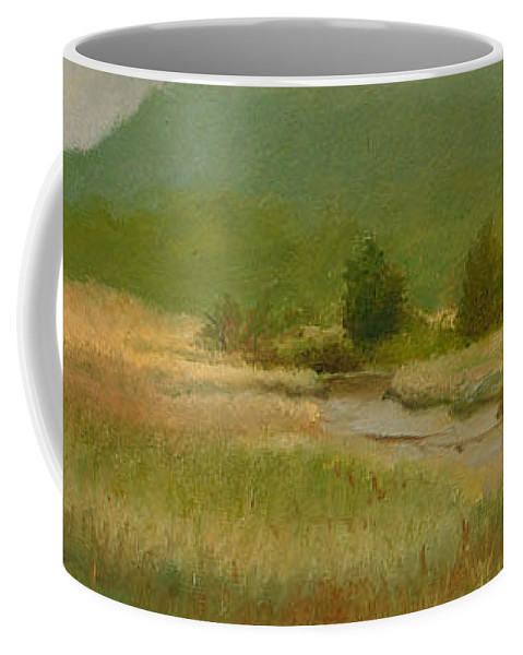 Oil Landscape Coffee Mug featuring the painting Cloudy Day At Iona Marsh by Phyllis Tarlow