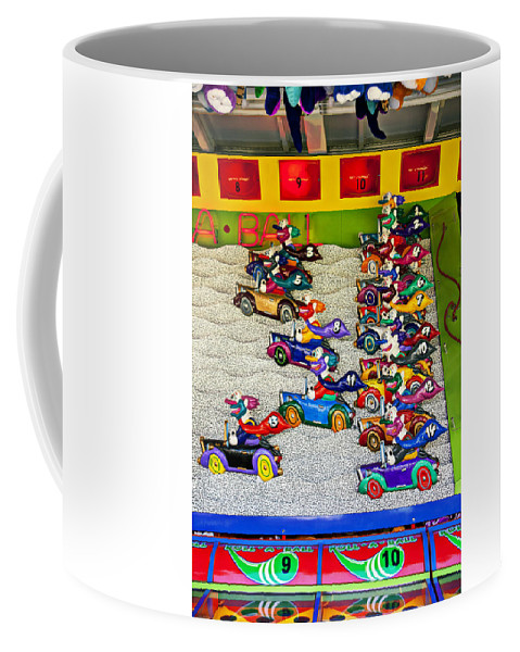 Clown Car Racing Game Carnival Coffee Mug featuring the Clown Car Racing Game by Garry Gay