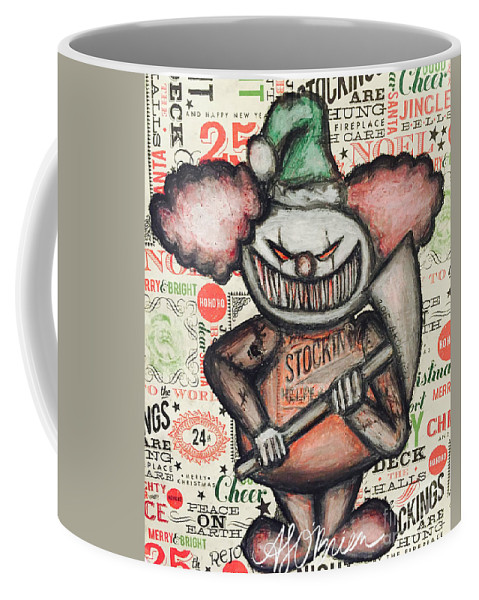 Evil Clown Coffee Mug featuring the drawing Clown Nightmare by Amber O'Brien