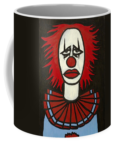 Clay Coffee Mug featuring the painting Clown by Thomas Valentine