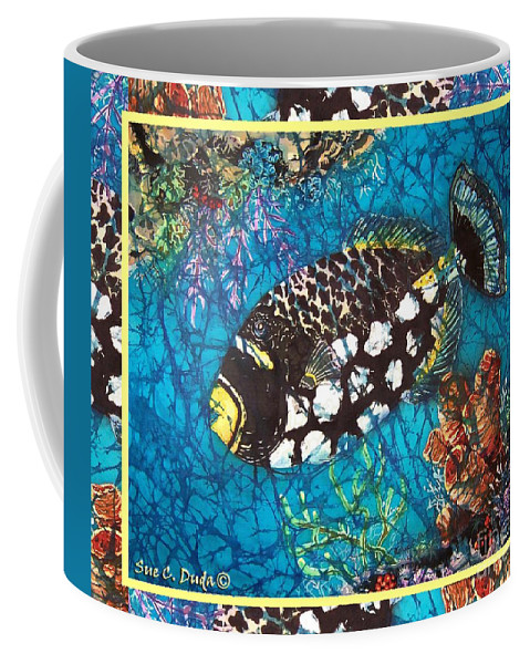 Batik Coffee Mug featuring the painting Clown Triggerfish-bordered by Sue Duda