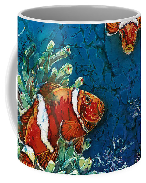 Ocean Coffee Mug featuring the painting Clowning Around - Clownfish by Sue Duda