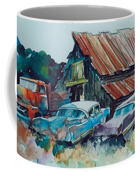 Ford Cabover Coffee Mug featuring the painting Cluster of Restorables by Ron Morrison