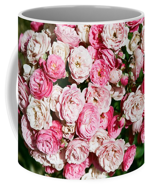 Rose Coffee Mug featuring the photograph Cluster of roses by Dean Triolo