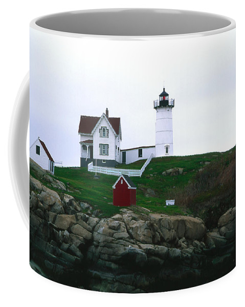 Landscape Lighthouse Nautical New England Nubble Light Cape Neddick Coffee Mug featuring the photograph Cnrf0502 by Henry Butz