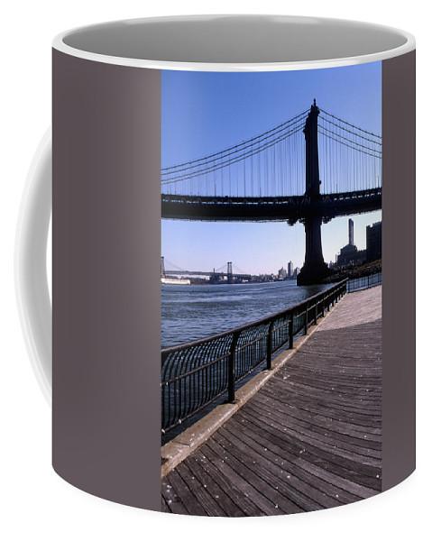 Landscape Manhattan Bridge New York City Coffee Mug featuring the photograph Cnrg0402 by Henry Butz