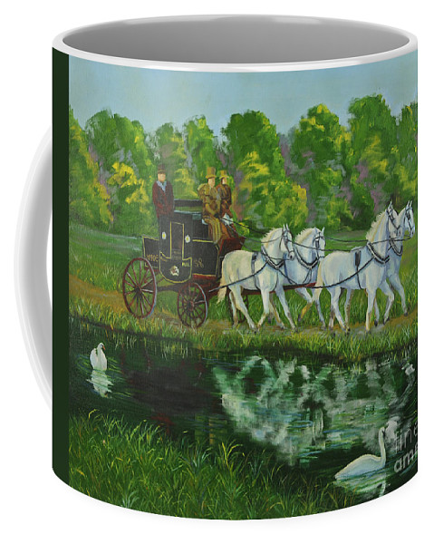 Mail Coach Coffee Mug featuring the painting Coach And Four In Hand by Charlotte Blanchard