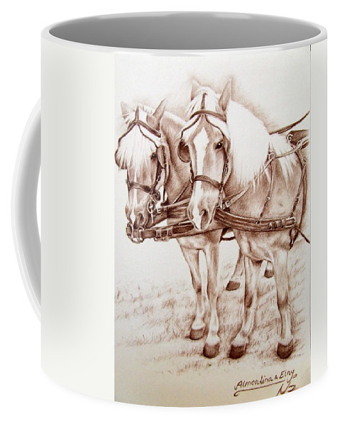 Horses Coffee Mug featuring the drawing Coach Horses by Nicole Zeug