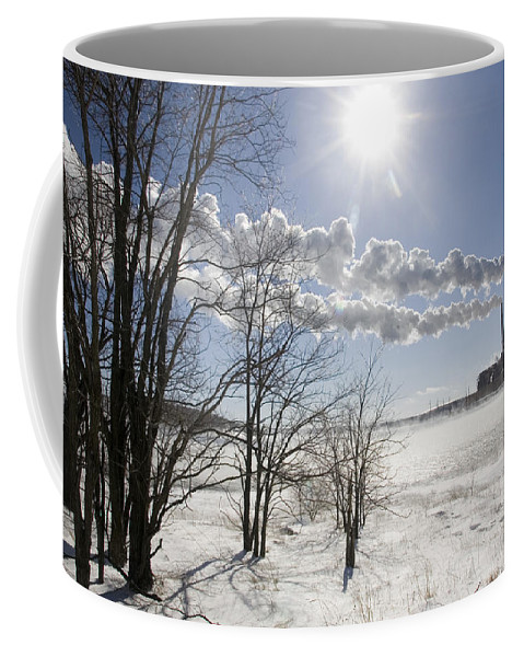 Power Plant Coffee Mug featuring the photograph Coal Fired Power Plant In Winter by Skip Brown