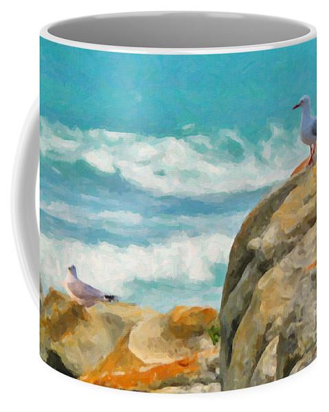 Coast Coffee Mug featuring the painting Coastal Rocks by Chris Armytage