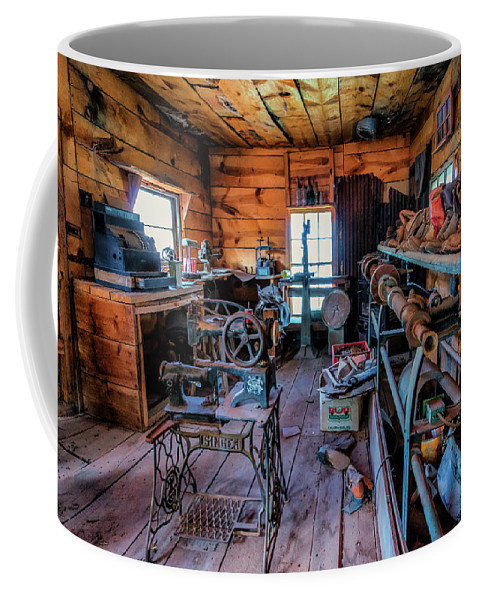 Ancient Coffee Mug featuring the photograph Cobbler's Shop, Gold King Mine, Arizona by Michael Newberry
