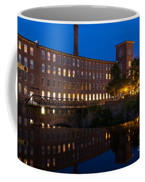 Cocheco Mills At Night Coffee Mug featuring the photograph Cocheco Mills At Blue Hour Dover New Hampshire by Dawna Moore Photography