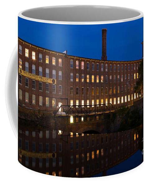Cocheco Mills At Night Coffee Mug featuring the photograph Cocheco Mills At Twilight Dover New Hampshire by Dawna Moore Photography