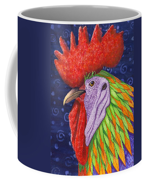 Rooster Coffee Mug featuring the painting Cock a Doodle Dude III by Catherine G McElroy
