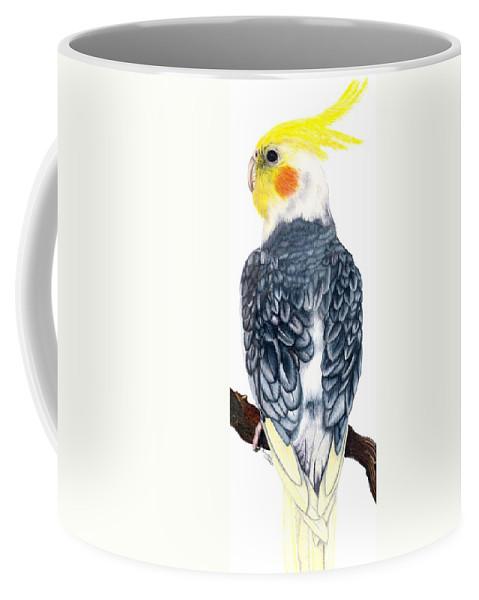 Cockatiel Coffee Mug featuring the drawing Cockatiel 1 by Kristen Wesch