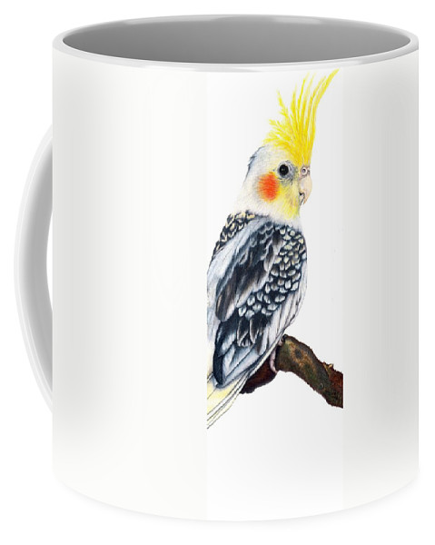 Cockatiel Coffee Mug featuring the drawing Cockatiel 2 by Kristen Wesch