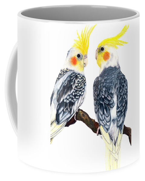 Cockatiel Coffee Mug featuring the drawing Cockatiels by Kristen Wesch