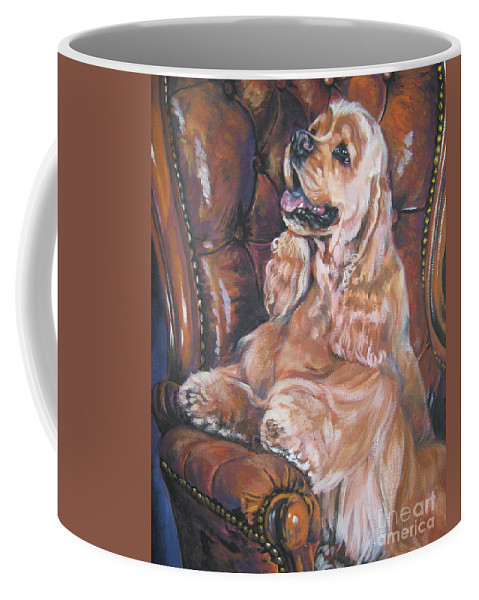 Dog Coffee Mug featuring the painting Cocker Spaniel On Chair by Lee Ann Shepard