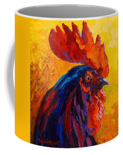 Rooster Coffee Mug featuring the painting Cocky - Rooster by Marion Rose