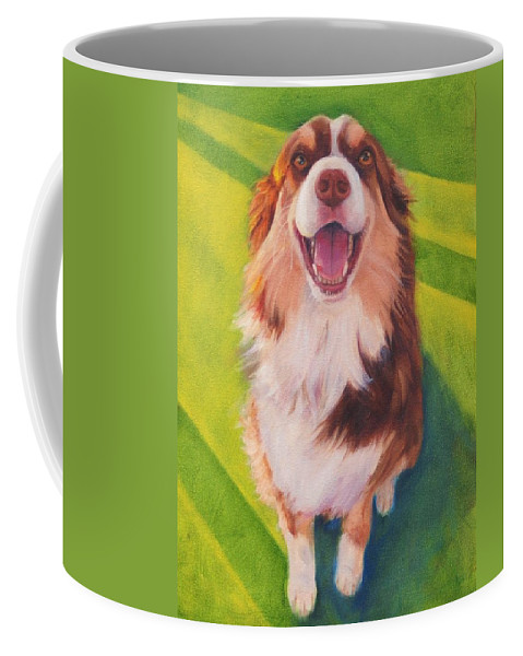 Australian Shepherd Coffee Mug featuring the painting Coco by Pet Whimsy Portraits
