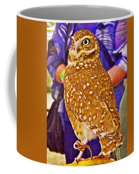 Coco The Burrowing Owl In Living Desert Zoo And Gardens In Palm Desert Coffee Mug featuring the photograph Coco The Burrowing Owl In Living Desert Zoo And Gardens In Palm Desert-california by Ruth Hager